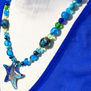 New Hand crafted glass star fish & Beaded Necklace